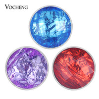 VOCHENG NOOSA Chunks Resin Ginger Snap Button Charms Base de metal de cobre 6 colores 18mm snap button Charms Vn-1831
