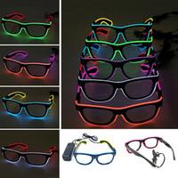 16 색 LED 파티 조명 안경 패션 EL 두 색 빛나는 안경 크리스마스 생일 할로윈 네온 파티 바 의상 장식 도구 WX-G13