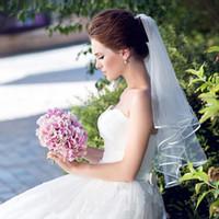 رخيصة في المخزون الحجاب الزفاف 2018 طول الكتف طبقة واحدة مع مشط الأبيض العاج الزفاف الحجاب للعروس CPA912