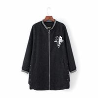 plus size lange hülse Pailletten Lurex winter frauen jacken 2017 mode stehkragen damen 4XL wolle casaco weibliche outwear mäntel