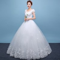 In Stock Lace Ivory Wedding Dresses Under 100 V Neck Court T...