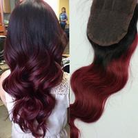 Brésilien Virgin Body Wave Cheveux Humains 3.5x4 Fermeture en dentelle pour femmes noires Partie libre Couleur 1B / 99J Fermeture de la dentelle Extension de cheveux humains