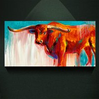 Modern Animal Longhorn Oil Painting Print On Canvas Vintage ...