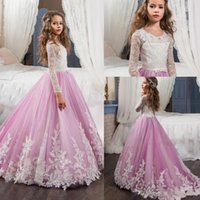 Vintage Lace Princess Flower Girl Dresses 2018 Long Sleeve J...