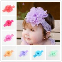 18 color Baby lace Flower Hair band silk Hair rope band knit...
