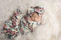 INS Floral Baby Schlafsack Blume gedruckt Neugeborenen Decke Blume gedruckt Schlafsack + Bowknot Stirnband 2pcs Sets C2171