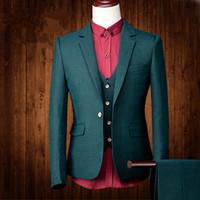 Slim Fit Три Штуки Бизнес Жених Свадебные Смокинги На Заказ Свадебные костюмы для мужчин деловой Костюм лучший мужской Костюм (Куртка + Жилет + Брюки)