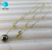 Design de pendentif perle de culture noire de la mer du Sud noire avec longueur de chaîne réglable s925, meilleur cadeau d'anniversaire pour les filles