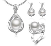 1 Satz Neue Ankunft Frauen Natürliche Perle Silber Überzogene Herz Anhänger Halskette Ohrringe und Ring Schmuck Set für Hochzeit Engagement