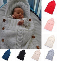 Chaud Swaddle Wrap Couverture De Bébé Nouveau-Né Infantile Tricot Crochet Sac De Couchage tricoté doux chaud Wrap Couverture IB373