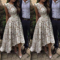 2020 New Elegant Cap Sleeves High low Evening Dresses White ...