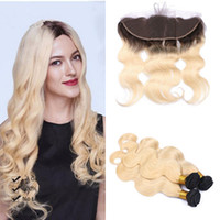8A Grade Dark root colored two tone Ombre Blonde Brazilian Hair Extensions With Lace Frontal Ombre Blonde Hair Weaves 613 Ombre Virgin Hair