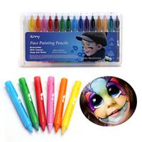 16 Renkler Yüz Boyama Kalemler Ekleme Yapısı Yüz Boya Mum Boya Çocuklar Için Noel Vücut Boyama Kalem Sopa Parti Makyaj ZA2676