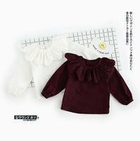 2017 Ins Yeni Varış Kızlar Çocuklar Gömlek Uzun Kollu Ayçiçeği Pet Pan Yaka T Gömlek Kızlar Nedensel 100% Pamuk Bebek Kız Bluz Ücretsiz Gemi