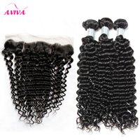 Brazilian Curly Virgin Hair Weaves With Lace Frontal Closure...
