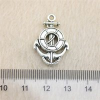 15 Pcs 26 * 17mm antique Silver Tonelife bague et ancre Charmes en alliage de Zinc DIY Main Pendentifs Bijoux En Gros