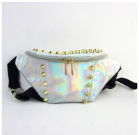 2017 New Waist Bags women metallic silver rivet Waist bag ch...