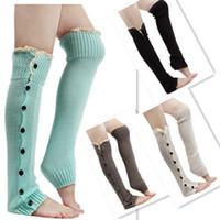 Оптово-Kintting ботинок носки модницы кружевами плоские Манжеты Кнопка вниз Knit грелки колено высокие носки Теплый KH851958