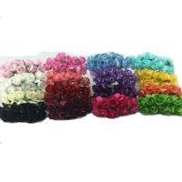 Toptan-144 adet / grup El Yapımı Dut Kağıt Çiçek Buketi / tel kök / Scrapbooking yapay Mini gül çiçekler düğün Parti Dekoru