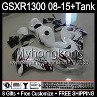 8Gifts för Suzuki Hayabusa GSXR1300 08 15 GSXR-1300 Röda flammor 14MY130 GSXR 1300 GSX R1300 08 09 10 11 12 13 14 15 Fairing Glossy White Kit