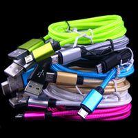 Stoff Geflochtener Typ C Micro USB-Kabel 1m 2m 3M-Legierungskabel für Samsung S4 S6 S7 S8 S10 HTC LG Android-Telefon