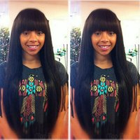 Top quality straight full wig simulation human hair silky st...