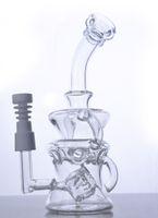 사이클론 헬릭스 유리 bongs 이중 재활용 유리 버버 물 파이프 농축 석유 못을 세라믹 못 14 mm 조인트와 함께