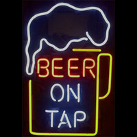 "17"" x14"" Beer On Tap REAL GLASS TUBE NEON LIGHT BEE..."