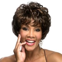 Short Bob Cheap Curly Fluffy Synthetic Hair Wigs Brown Full ...