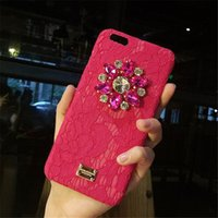 Nueva cubierta de la caja de la flor del Rhinestone de lujo 3D para Apple Iphone 6 6S Plus 7 7 Plus, Crystal Diamond Hard Back cubierta de la caja del teléfono móvil