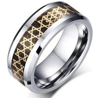 유럽 wholesales 골드 별 기호 상감 텅스텐 카바이드 반지 패션 보석 반지 손가락 망 스타일에 대 한