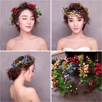 Красочные фрукты Мори стиль заставки для новобрачных старинные свадебные аксессуары Boho летний пляж девушки заколки для волос chapeau mariee