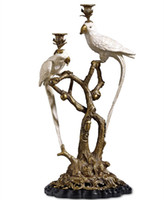Brass and Ceramic Parrot Candle Holder European Style Decora...