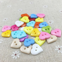 Candy color love button 2 hole peach heart children cartoon ...