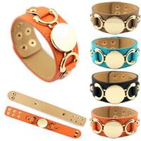 Bracelet manchette en cuir vierge en cuir plaqué or pour femmes hommes monograms personnalisés rond rond PU en cuir PU en cuir PU bracelet