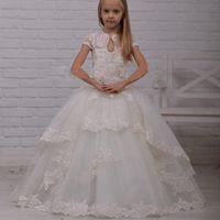 2020 새로운 저렴한 공주 빈티지 레이스 꽃의 소녀 드레스 결혼식을위한 높은 목 아플리케 주니어 선발 대회 드레스 소녀 공식 파티 드레스