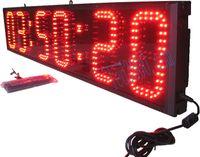 Hot koop uren, minuten en seconden aftellen / omhoog led klok muurklok sport race timer real time 12h / 24h rode kleur gratis verzending (HST6-8R)