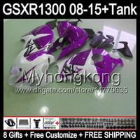 8gifts Per SUZUKI Hayabusa GSXR1300 08 15 GSXR-1300 viola lucido 14MY45 GSXR 1300 GSX R1300 08 09 10 11 12 13 14 15 Kit carenatura bianco lucido