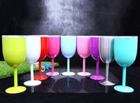 9 Colors 10oz New Style WINE GLASS Metal Goblet With Lid Cup...