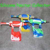 Hot Mini colectores de néctar de silicona con 10 mm macho ti Clavo de aceite de silicona Tubo de agua Plataformas de aceite de silicona silinectar con 120 mm de dabber DHL