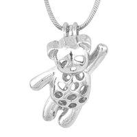 18kgp jaula del oso lindo colgante del pequeño panda del estilo de la perla de la gema del grano del Locket del montaje para la pulsera collar DIY fabricación de la joyería de accesorios