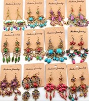 Mix Designs New Vintage Colorful Beads Teardrop Dangle Earri...