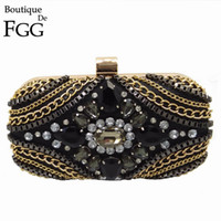 American Brand Damen Black Evening Clutch Bag Golden Chains Kristall Patchwork Hochzeit Cocktail-Handtasche Clutches Handtasche