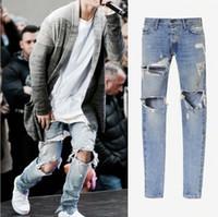 Herrenbekleidung & Zubehör Zerrissene Jeans Für Männer Zipper Zerknittern Fit Gerade Denim Vintage Stil Jeans Hosen Drop Verschiffen