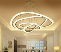 Aplique de acrílico de 4 anillos Lámpara colgante redonda moderna 90-260V 64/88 / 100CM Colgantes de personalidad simple.LLFA