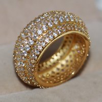 Victoria Wieck Luxury Jewelry Pave Setting 320pcs Tiny White Sapphire 925 Sterling SilverYellow Gold Filled Mujeres Anillo de dedo de la boda de regalo