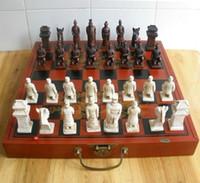 """32 piezas de ajedrez chino juego / caja / Xian Terracota Warrior """"Envío gratuito"""""""