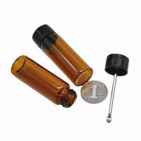 Almacenamiento de balas Botella de vidrio Tabaco con metal Cuchara Spice Marrón transparente Pastillero en stock