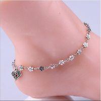 Halhal Antik Gümüş Çiçek Şeftali Kalp kolye Halhallar Ayak bileği Bilezikler Bilek Zincirler Ayak Zinciri Barefoot Sandalet Bayan Plaj Takı