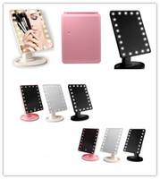 Tela de Toque de 360 Graus de Rotação Compõem Espelho Cosmético Dobrável Portátil Compacto de Bolso Com 16/22 Luzes LED Ferramenta de Maquiagem